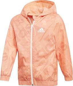 Pomarańczowa kurtka dziecięca Adidas z tkaniny