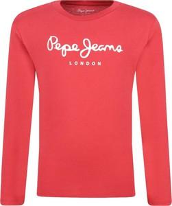 Czerwona koszulka dziecięca Pepe Jeans z długim rękawem