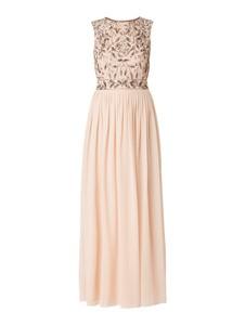 Sukienka Lace & Beads w stylu glamour z szyfonu bez rękawów