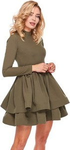 Zielona sukienka Ooh la la z golfem rozkloszowana