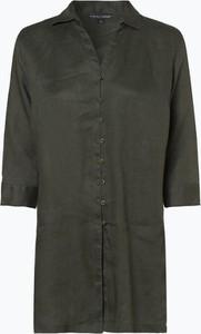 Zielona bluzka Franco Callegari z długim rękawem z kołnierzykiem z lnu