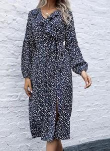 Sukienka Cikelly w stylu boho midi z długim rękawem