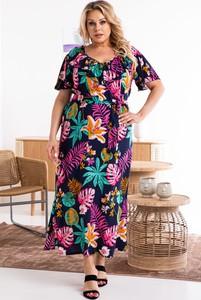 Sukienka KARKO z tkaniny dla puszystych maxi
