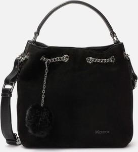 Czarna torebka Kazar z zamszu zamszowa
