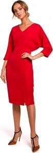 Czerwona sukienka MOE z dekoltem w kształcie litery v ołówkowa z długim rękawem