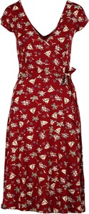 Czerwona sukienka King Louie z krótkim rękawem z dekoltem w kształcie litery v
