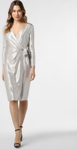 Srebrna sukienka Ralph Lauren midi kopertowa z dekoltem w kształcie litery v