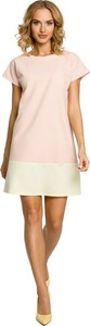 Różowa sukienka MOE mini z okrągłym dekoltem