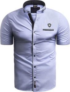 Niebieska koszula Risardi z kołnierzykiem button down z krótkim rękawem