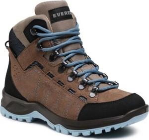 Brązowe buty trekkingowe Everest z płaską podeszwą sznurowane