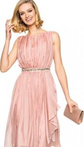 Różowa sukienka L'AF bez rękawów midi z tiulu