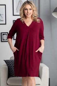 Czerwona sukienka KARKO w stylu casual z długim rękawem z tkaniny