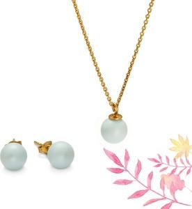 Peani Zestaw perły pastelowe niebieskie, srebro pozłacane i Swarovski Pearls, naszyjnik i kolczyki