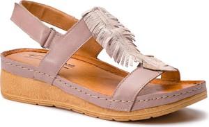 Sandały Pollonus na koturnie ze skóry w stylu casual