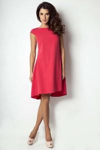 Czerwona sukienka Ivon z okrągłym dekoltem mini