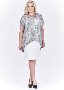 Sukienka Fokus midi z krótkim rękawem z tkaniny