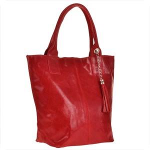 Czerwona torebka GENUINE LEATHER duża ze skóry w stylu glamour