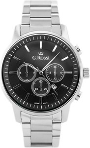 ZEGAREK MĘSKI GINO ROSSI - 6647B (zg201c) + BOX - Srebrny