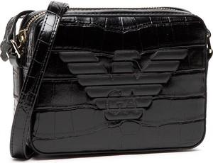 Czarna torebka Emporio Armani na ramię ze skóry