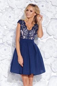 Granatowa sukienka Bicotone z tiulu mini z dekoltem w kształcie litery v