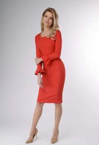 Czerwona sukienka Nommo ołówkowa z długim rękawem midi
