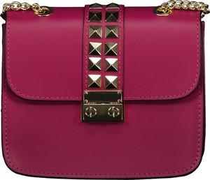 Różowa torebka Lavard w stylu glamour ze skóry matowa