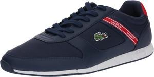 Granatowe buty sportowe Lacoste w sportowym stylu ze skóry