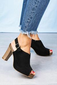 Czarne sandały Sergio Leone na obcasie na wysokim obcasie