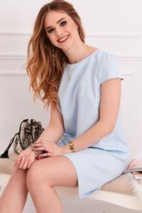 Niebieska sukienka Fasardi z tkaniny