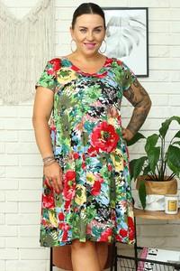 Sukienka KARKO z okrągłym dekoltem dla puszystych mini