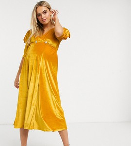 ASOS DESIGN Maternity – Aksamitna sukienka midi w kolorze ochry z bufiastymi rękawami i guzikami z kryształków-Żółty