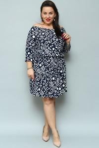 Niebieska sukienka KARKO dla puszystych hiszpanka