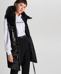 Czarna kamizelka Cropp długa w stylu casual