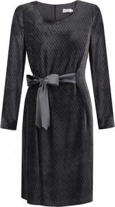 Sukienka Premiera Dona z żakardu mini z długim rękawem