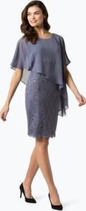 Fioletowa sukienka Swing z krótkim rękawem w stylu glamour