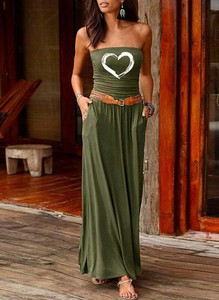 Zielona sukienka Cikelly maxi w stylu boho