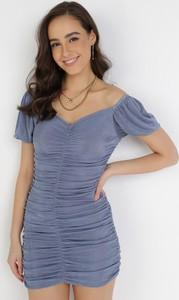 Niebieska sukienka born2be mini z krótkim rękawem dopasowana
