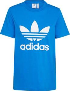 Niebieski t-shirt Adidas Originals z okrągłym dekoltem z krótkim rękawem z dżerseju