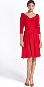 Sukienka Colett rozkloszowana z długim rękawem midi