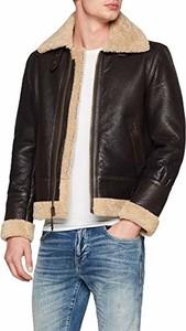 Brązowa kurtka SCHOTT ze skóry w stylu casual