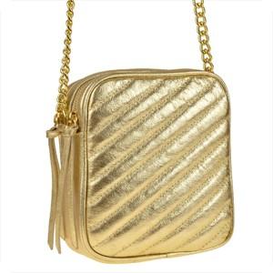Złota torebka Vera Pelle ze skóry na ramię
