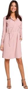 Różowa sukienka Style z długim rękawem koszulowa