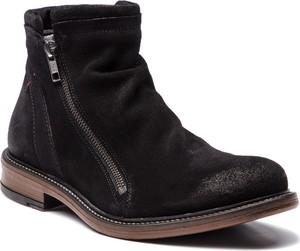 Czarne buty zimowe Nobrand ze skóry