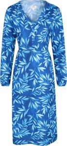 Niebieska sukienka Mountain Warehouse z tkaniny z długim rękawem w stylu casual