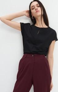 Czarna bluzka Mohito z krótkim rękawem