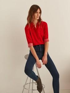 Czerwona koszula Top Secret z kołnierzykiem z długim rękawem