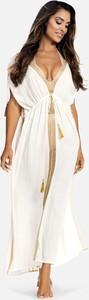 Sukienka Feba z dekoltem w kształcie litery v z tkaniny maxi