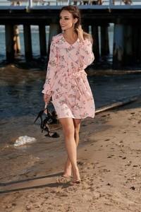 Różowa sukienka Lemoniade z długim rękawem