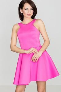 Różowa sukienka sukienki.pl na ramiączkach z neoprenu