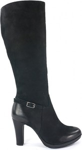Czarne kozaki Acord ze skóry na obcasie przed kolano